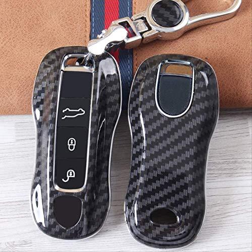 XTQDM Autoschlüsselschale,Für Geschenk Neue hochwertige Auto Abs Carbon Faser Key Case Abdeckkette für Porsche Macan 911 Panamera Cayenne 2018 ZubehörSchwarz
