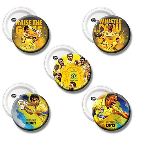 360Edutech, IPL 2021 Indian Cricket Game CSK Fan, Set of 5 PinBack Button Badge for Kids Boys Girls Men & Women, Pin on T Shirts Bags Dress Kits Cap Jersey Jacket Hoodie - Gifts & Merchandise