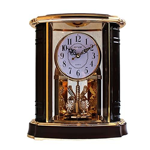 KLHDGFD Reloj de Escritorio Vintage, Mesa Antigua, Reloj abatible clásico, Alarma, Madera, decoración Retro Europea, Sala de Estar, Escritorio de Oficina de Lujo, Moderno