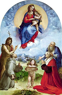 Raphael (The Madonna of Foligno, c.1511/12) Canvas Art Print Reproduction (20.1x13.1 in) (51x33 cm)