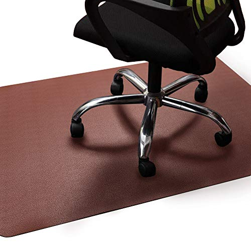 Office Chair Mat Brown, Non-Curve Under Computer Desk Pad for Hardwood Floor and Heavy...