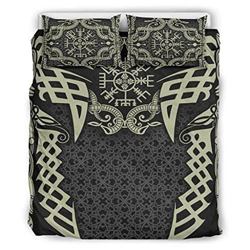 Wandlovers Juego de ropa de cama vikinga Vegvisir Odin con estampado de cuervos y nudos, muy suave, funda de edredón y funda de almohada, color blanco 3 264 x 229 cm