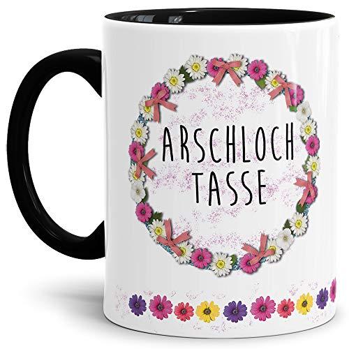 Blumen-Tasse mit Spruch Arschloch Tasse - Schimpfwort/Beleidigung/Geschenk-Idee/Büro/Innen & Henkel Schwarz
