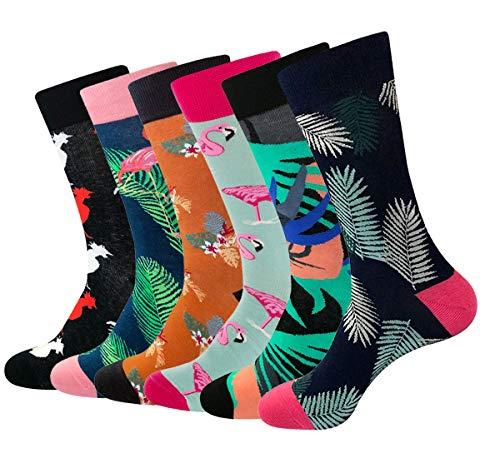 RedMaple 6 Paar Herren Bunt Gemusterte Socken - Gekämmte Baumwolle Neuheit Sneaker Crew Socken...