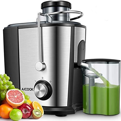 Licuadoras Para Verduras y Frutas, Aicook 600W Licuadora Con 65MM de Boca Ancha, Extractor de Jugos Acero Inoxidable de Grado Alimenticio Llibre de BPA, Doble Velocidad con Función Aanti-goteo
