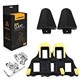 SSUBCOLO SPD sl Cleats for Road Cycling - Compatible with Shimano with Clear Protector Cover 2 in 1 Compatible with Both Fixed and Floating Indoor Cycling Shoes or Mountain Bike Shoes-Yellow