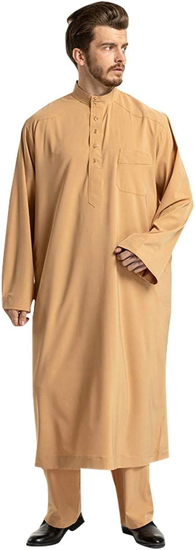 Dumanfs Men Burqua Ethnic Long Sleeve Islamic Muslim Middle East Maxi Robes Pants Suite Kaftan