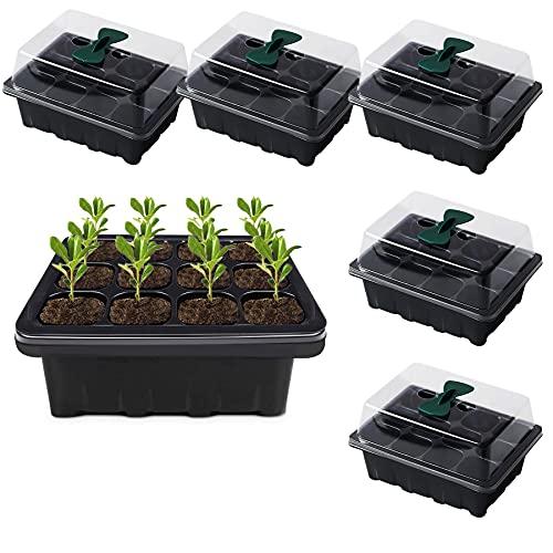 Caja de germinación, bandejas de inicio de semillas Wilecolly, kit de bandejas de inicio de semillas de 12 celdas para jardín