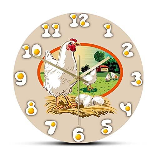 xinxin Reloj de Pared Huevos Frescos Gallina Gallinero Cocina Reloj de Pared Signo de Hennery Animales Decoración artística Granja de Pollos Reloj Colgante Reloj de Pared Regalo de los Agricultores