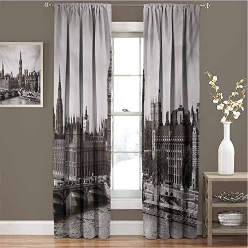 Toopeek London - Juego de cortinas opacas con diseño de Big Ben y Puente, diseño de arquitectura antigua británica para jardín de infantes (96 x 72 cm), color blanco