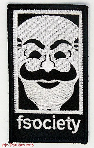 FSOCIETY MR ROBOT TV SHOW Embroidery Patch Halloween costume Badge Easy Iron On by Mr Patches