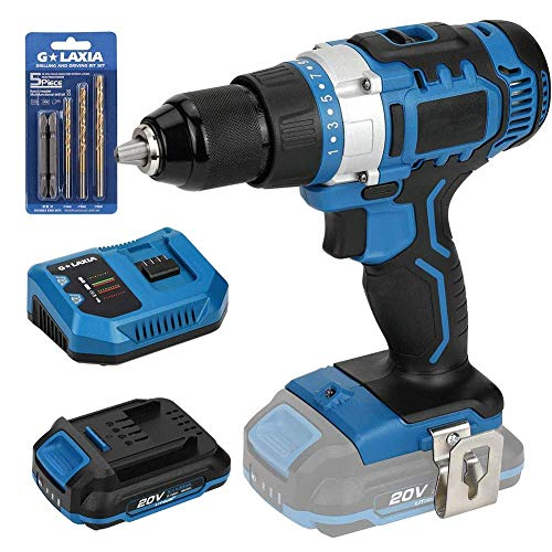 Cordless Drill Driver 2-Speed - Includes Lithium Ion Battery,Max Torque (50N.m),21+1 Clutch,Built-in LED Light for Home Improvement & DIY Project