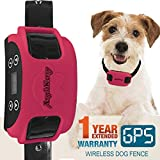 AngelaKerry Wireless Dog Fence System with GPS, Outdoor Pet Containment System Rechargeable Waterproof Collar 850YD Remote for 15lbs-120lbs Dogs (Rose Red, 1pc GPS Receiver by 1 Dog)
