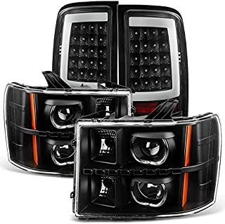 For [Dual LED Halo Ring] 07-13 Sierra Pickup Truck Black Projector Headlights + LED Tail light Set