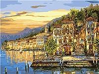 キャンバス上の数字に応じた大人のペイントカラー用の数字キットによるDIY油絵ペイント16x20インチ-ブラシ装飾付きの描画(フレームなし) 沿岸の夕日