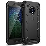 Poetic Revolution Moto G5 Plus Rugged Case With Hybrid Heavy Duty Protection and Built-In Screen Protector for Motorola Moto G5 Plus (2017) Black