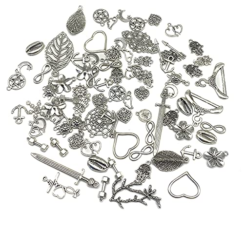 100g Mixed Charms Pendants Assorted DIY Antique Bronze Charms Pendant for Crafting Bracelet Necklace Jewelry Findings Jewelry Making Accessory (Silver)