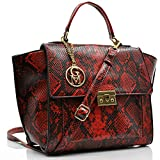 GM Italy - Bolso tipo baúl para mujer, de piel con estampado de serpiente, rojo (Rojo) - wi_124550793316_2