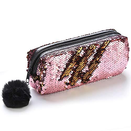 Koogel Pencil Pouch, Double Color Sequin Zipper Pencil Pouch Sequin Cosmetic Bag With Pompon Zip Closure