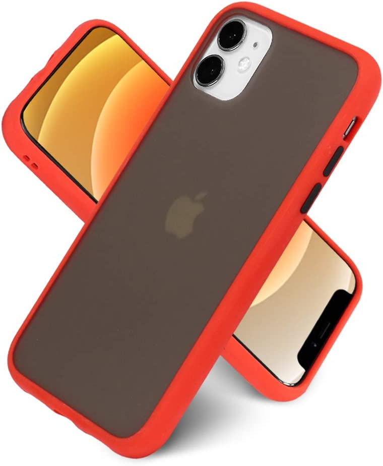 LITTLETREE Compatible with iPhone 11 Case Matte Translucent,|Clear Black| |Anti-Scratch| |Smooth Feel| Slim TPU Silicone Bumper Protective Cell Phone Case 6.1 Inch. (Red)