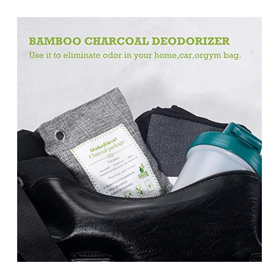 Air Purifying Bags(8 Pack - 4x200g+4x50g) with 4 S Hooks,Charcoal Bags Odor Absorber,Shoe Deodorizer,Bamboo Activated… 4 Materials: Made from 100% activated bamboo charcoal, our air purifier charcoal bag is the most convenient, most practical and safest solution to keep your home free from any kind of unpleasant smell. Recyclable without waste: These charcoal bags are reusable for 2 years! When this charcoal bag is saturated, you need to place the charcoal bag outside in the sun once a month for at least two hours. You can reuse these charcoal bags without waste. Safe and effective: They are safe for children and pets and can be used almost anywhere you need.They can also help reduce the smell of smoke, so that your children and pets can live in a healthier environment.