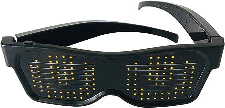 Nishore Óculos de iluminação LED USB recarregável e sem fio com tela de LED piscando Óculos luminosos brilhantes para fest...