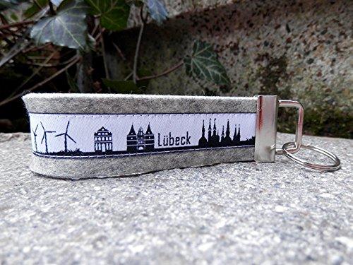 Schlüsselanhänger Schlüsselband Mitbringsel hellgrau Skyline Lübeck schwarz weiss !