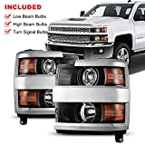 NIXON OFFROAD Projector Headlight for 2015-2019 Chevy Silverado 2500 3500 w / High Low Beam,Headlights Assembly Replacement Amber Reflector Chrome Housing Clear Lens Pair Driver + Passenger Side