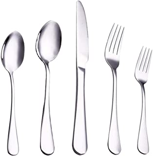 Lekoton 40-Piece Flatware Set for 8, 18/0 Stainless Steel Silverware Set, Include Dinner Knives,Dinner Forks,Dinner Spoons,Salad Forks,Teaspoons