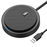 360° Omnidirectional USB Conference Microphone, Desktop PC Computer Laptop Microphones with Mute Plug & Play Compatible with Mac OS X Windows for Video Meeting, Gaming, Chatting, Skype