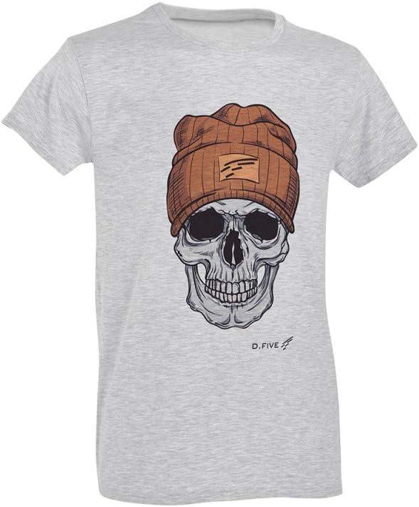 D.FIVE - DF5-F61430-2 T-Shirt Skull with Wool Cap Heather Grey M