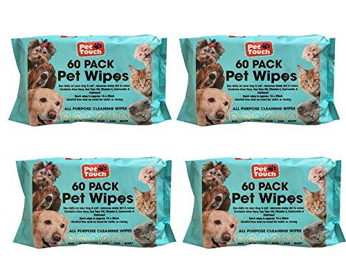CBROSEY Toallitas Multiusos para Mascotas para Perros y Gatos, sin Alcohol, toallitas de Limpieza para Perros y Gatos (240 toallitas de 4 Paquetes)
