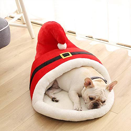 ZJF Suministros Esenciales Familiares 60x43x35cm de Dibujos Animados de Navidad Cama para Mascotas Tipo Zapatilla Rojo Espesor Invierno Cama Caliente para Gatos Perro Mascota