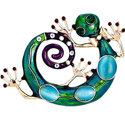 Hombres Mujeres Broche Goteo De Aceite Lagarto Reptil Broches Retro Multicolor Para Womale Masculino