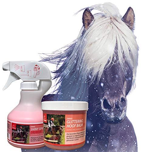 EMMA® Mähnenspray für Pferde (Schweifspray) pink mit Duft für Pferd & Pony I Glitzer Huffet pink & Duft I Inhalt Putzbox I Pferde-Pflege Zubehör I Pferdepflegeset für Kinder 2 teilig