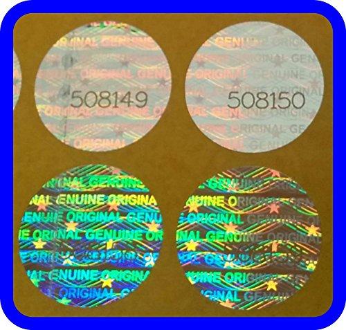 5000 Hologramm Etiketten mit Seriennummern, Garantie Siegel Aufkleber Rund 15mm