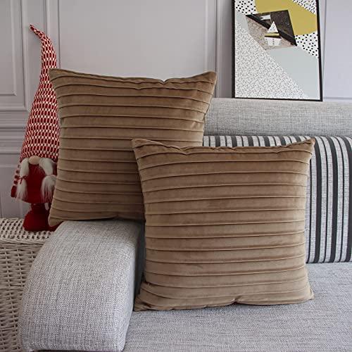 FYJS Juego de 2 Piezas de Funda de cojín de Terciopelo para sofá, Funda de Almohada Decorativa para Sala de Estar, Funda de Almohada para Dormitorio de 45x45 cm, Color Topo