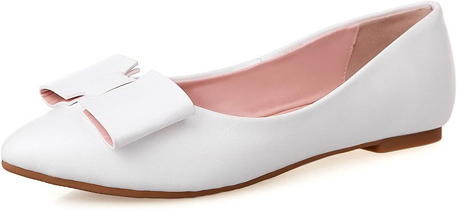 WeenFashion Women's No-Heel Soft Material Solid Pull-on Pointed Closed Toe Flats-shoes