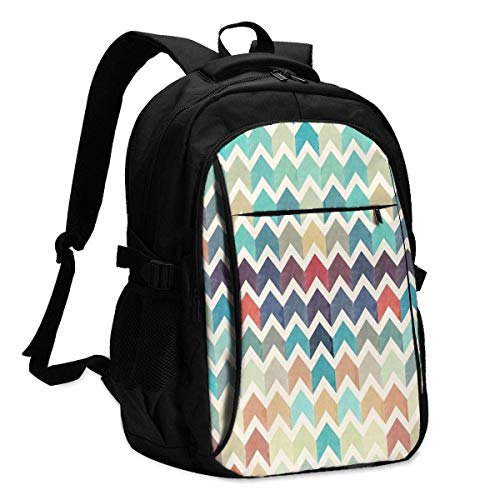 XCNGG Glitter Chevron Ski Personalized Customization Fashionable Travel Computer Backpacks with USB Charging Interface Notebook Backpacks