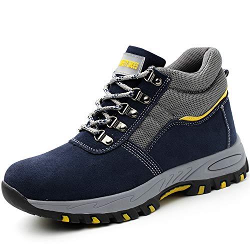 PAQOZKC Botas de Seguridad Invierno Mujer Hombre Zapatillas con Puntera de Acero Zapatos de Trabajo S3 Botas de Nieve Impermeables Zapatillas de Senderismo (108/blue/41)