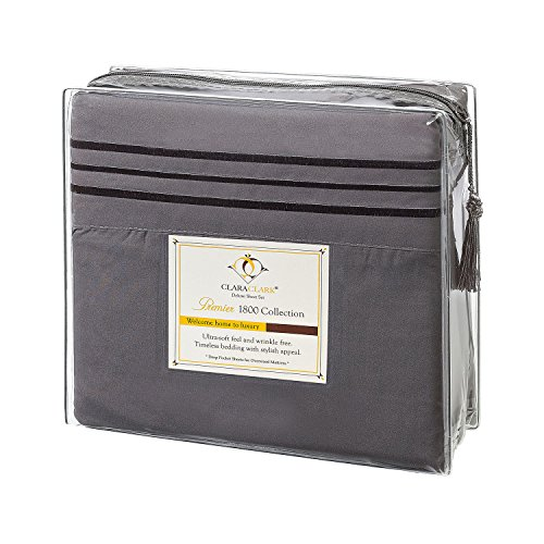 Clara Clark Premier 1800 Collection Bed Sheet Set, Split King, Charcoal Stone Gray