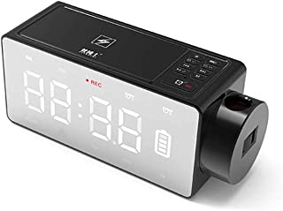 SHZONS Digital Alarm Clock,LED Projection Alarm Clock with Bluetooth Speaker,Dual Alarm,