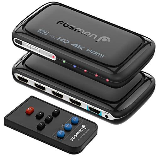 Fosmon 4-Port HDMI Umschalter 4K mit Pip, 4x1 HDMI Switch Automatische Umschaltung Auto Switcher Verteiler UHD HDR ARC 3D Full HD 1080p HDCP, 3 zu 1 HDMI Splitter Für HDTV PS4 Xbox One Roku Apple TV