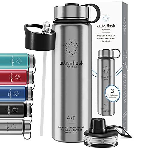 Botella de Agua Térmica Active Flask + Pajita (3 Tapones) sin BPA - 1l & 500ml | Frasco Termo de Acero Inoxidable + Aislamiento Vacío | Cantimplora Aislada Bicicleta Deporte Caliente Fría Café Té