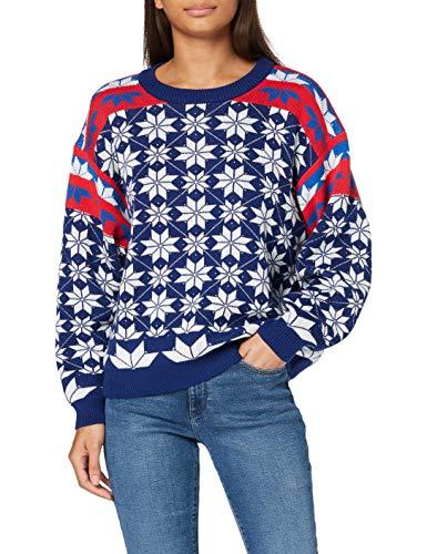 Wrangler Womens Alpine Rainbow Knit Pullover Sweater, Estate Blue, L