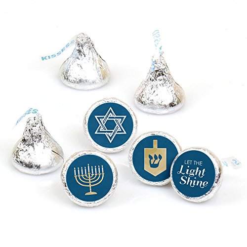Big Dot of Happiness Happy Hanukkah - Chanukah Party Round Candy Sticker Favors - Labels Fit Hershey's Kisses (1 Sheet of 108)