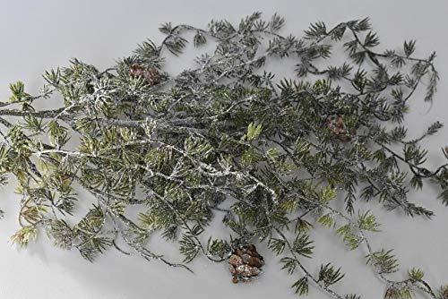 Flor und Decor Import GmbH Tannenhänger grün-weiß bereift 96cm 1St