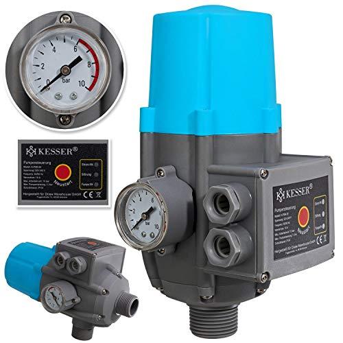 KESSER® Pumpensteuerung mit Baranzeige | Ohne Kabel | 10 bar Druckwächter Elektronische Pumpensteuerung | Druckschalter | überwacht den Wasserdruck - automatisches Ein- und Ausschalten Garten & Haus