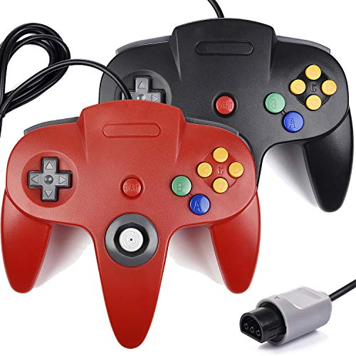 Miadore 2x controlador N64, controlador clásico de juegos con cable para consola N64 (negro + rojo)
