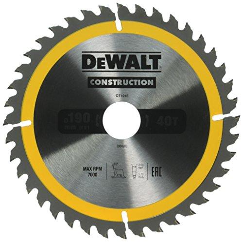 Dewalt DT1945-QZ cirkelzaagblad voor handcirkelzagen (190/30, 40WZ, voor universeel gebruik op handcirkelzagen, 1 stuks